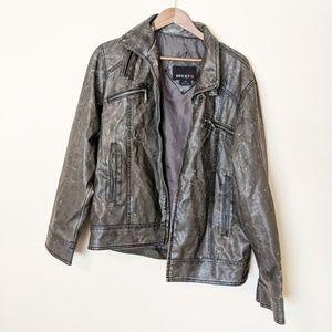 BKE Unisex Grunge Distressed Faux Leather Jacket
